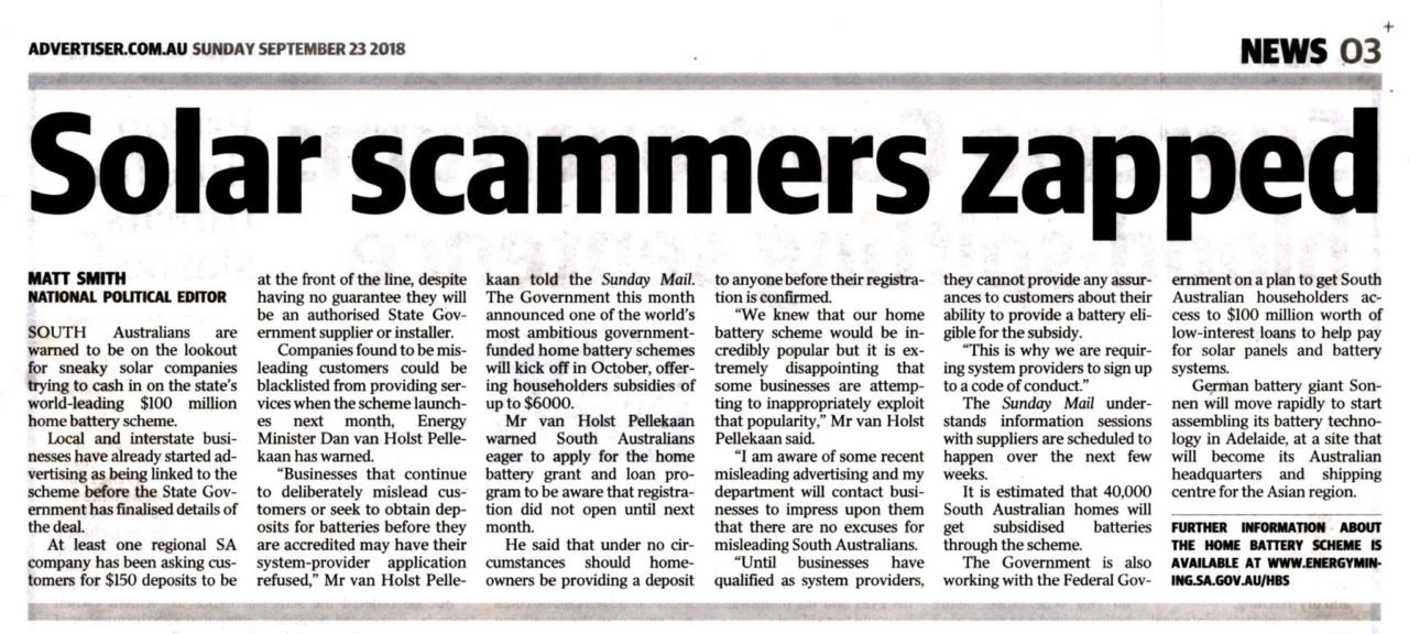 Solar Scammers Zapped